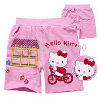 New arrivals high quality 6pcs/lot baby girls cartoon hello kitty summer 100% cotton shorts children's clothing