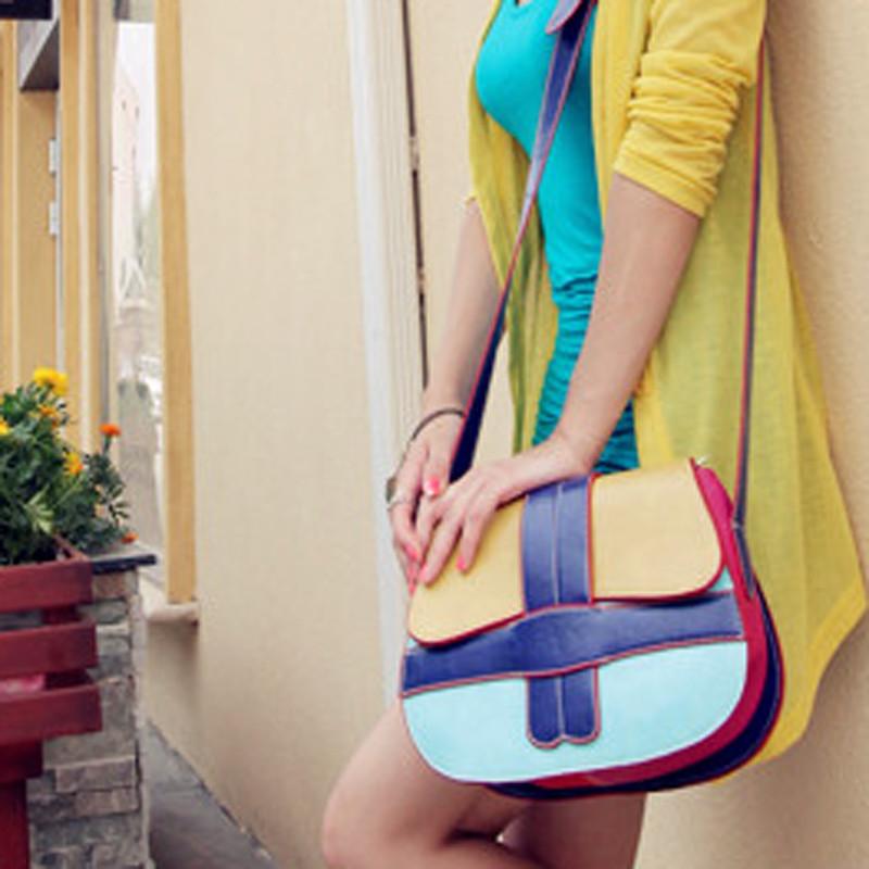 2012 women's handbag color block saddle bag vintage messenger bag female bags(China (Mainland))