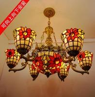 Fashion tiffany lighting living room lights polycephalous pendant light 6+1  sunflower hall pendant light free shipping