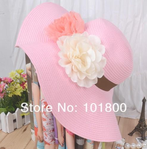 2013 New Style mix colors 30pcs/lot 2013 beach hat, brim sun hat,Fashion Women fashion Summer Beach hot sell(China (Mainland))