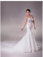 Elegant puff skirt tube top paragraph of three-dimensional lace flower train wedding dress
