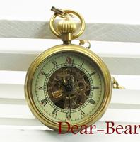 Fashion Copper Case Roman Numerals Mechanical Pocket Watch , 3cm.  6 pcs/lot