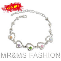 Free Shipping Hot Sales Super Flash Full Rhinestone Peach Crystal Heart With Heart Bracelet 479