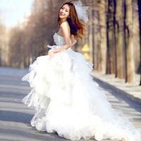 Hot-selling 2012 low-high tube top train rose three-dimensional flower elegant wedding dress