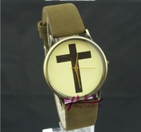 2013 New Classic Vintage Watches, Creative Cross watches, Lady/Men Leather Watches, Couple Watches dhl Free Shippingg