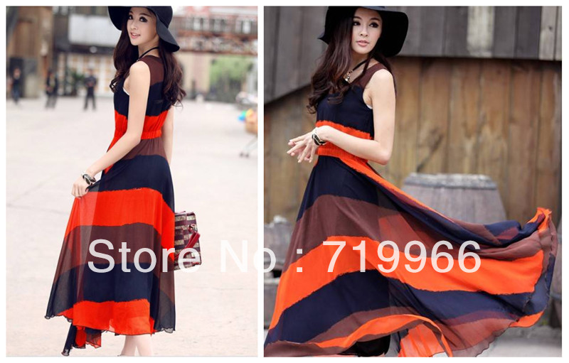 New Fashion Womens Summer Sleeveless Casual Maxi Stripes Boho Montage Dress, Full Length Chiffon Cocktail Party Lined Dresses(China (Mainland))