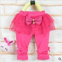 Children's clothing wholesale white gauze girls pants girl 7 minutes of pants leggings 4 PCS/lot free shipping