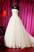 2013 wedding formal dress elegant strap tube top wedding dress luxury princess big train wedding dress