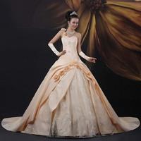 Luxury three-dimensional fashion one shoulder big train wedding dress champagne color wedding dress train