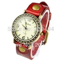 2013 Newest Arrival Woman  Wristwatch Fashion Leather Band Quartz  Watch High Quality Beautiful  Elegance Watch Free Shipping