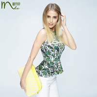 Fashion pullover female slim print sleeveless ruffle hem vintage shirt aj800836