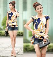 Hot style 2014 Summer Women Retro Printing Short sleeve Chiffon shirt Casual Chiffon printed petal sleeve Blouse