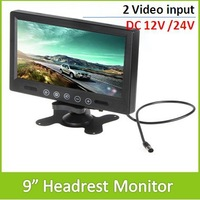 9 Inch Widescreen 800X600 TFT LCD Color Screen Car Headrest Monitor With 2Ch video Input For Rearview camera ! Free Shipping