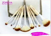 Zoreya 9pieces/set professional brushes set cylinder loose powder cosmetic new arrival Bamboo handle