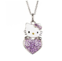 Free Shipping,hello kitty wholesale,hello kitty necklace cheap,hello kitty in pink bow free jewelry gift-12pcs/lot HT-6075