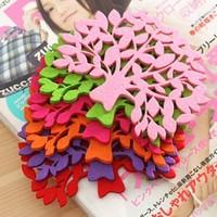 Free shipping Felt tree shape coaster / table mat insulation pad cute coasters cute cup mat  20pcs/lot