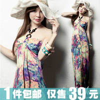 Bohemia suspender skirt long skirt beach dress on vacation wind print dress full dress jumpsuit