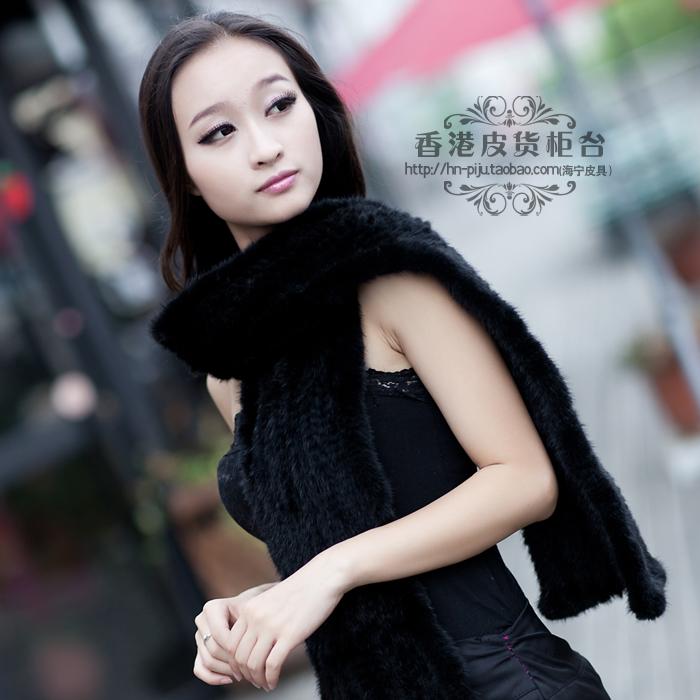 Newest Ladies' Fashion Natural Knitted Mink Fur Scarves Autumn Wraps Warm Pashmina Shawls VK0548(China (Mainland))