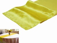 """Sep Sale Free shipping  20 pieces 12""""x108"""" Yellow Satin Table Runner Wedding Party Banquet Decoration"""