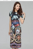 2014 New fashion Colorful loose T show luxury Dress Women's Dresses name brand pattern print one-piece dress