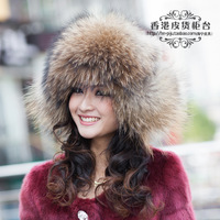 Autumn and winter Woman's Fashion Genuine Raccoon Fur Bamber  Hats Female Caps Ears protector