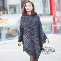 Lady Fashion Genuine Knitted Rabbit Fur Poncho Female Winter Warm Wraps Hooded Shawls Women Fur Pullovers VK0562