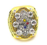Men ring 18K gold plating 2008 Pittsburgh steelers super bowl world Championship ring size 10,Free Shipping