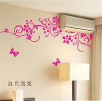 Three generations of black flower vine wall stickers tv wall sticker