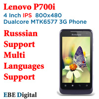 Free Shipping SG Post Original Lenovo P700i 800x480 IPS Russian Support Mtk6577 Dualcore Cell Phone  512mb 4GB  Multi Language