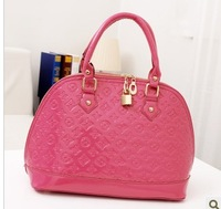 2013 japanned leather handbag one shoulder cross-body small letter embossed anti-theft lock shell bag female bags