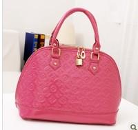 2013 japanned leather handbag one shoulder cross-body small letter embossed anti-theft lock shell bag female bags