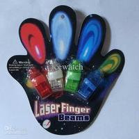 100pcs 4x Color LED laser finger beams party Light-up finger ring laser lights with blister package