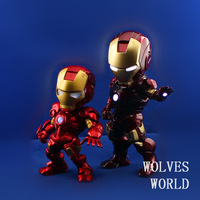 Free Shipping new Q version Avengers Iron Man Tony pvc Action Figures toy 18cm ,eyes,hand,heart LED Light American hero for Gift