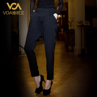 Voa women's silk pants plus size black silk long trousers summer mulberry silk harem pants k105
