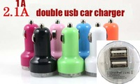 usb car charger for ipad for iphone for ipod Mobilephone, double usb ports,2A & 1A,  10colour,200pcs/lot  free ship  dhl