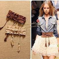All-match women's pear cutout flower tassel elastic cummerbund belt decoration wide cummerbund