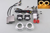 Free shipping Yellow Angel Eye Projector Fog Light H4 Right Driving + 8000K D2S 55W HID Ballasts[QP819-R]