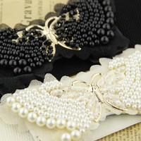 Pearl lace bow elastic strap wide women's cummerbund all-match belt one-piece dress cummerbund