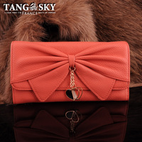 100 3 ! pink knot bow pendant sweet long design wallet female