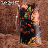 Cowhide oil painting tassel evening bag day clutch purse female long design 2013 spring and summer wallet