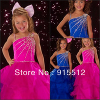 Wholesale Beautiful One Shoulder Pleat Beaded Sequined Embellished Ball Gown Organza Cheap Flower Girl Dress