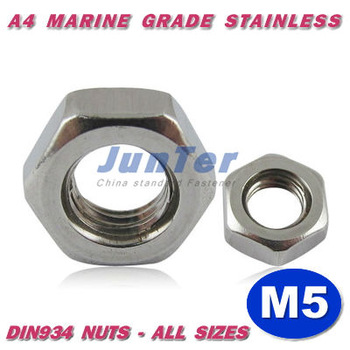 500pcs/lot DIN934 M5 A4 Marine Grade Stainless Hex Nuts METRIC