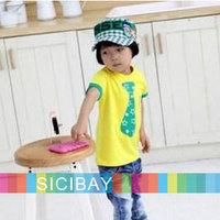 Children's Clothing Tshirts Baby Girls Boys Kids Fashion T-shirt 2014 Summer Tie Tops,2colors  K0199