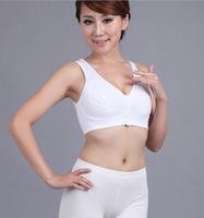 Front Button Wire Free Bra women everyday vest bra shoulder comfort strap brassiere 100%cotton lined sze:38,40,42,44,46,48