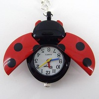 FreeShipping 10 Color Available Ladybug Quartz Pocket & Fob Watches,Pendant Necklace