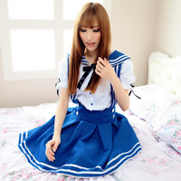 Maid equipment lolita sailor suit student clothing anime cos clothes blue navy suit princess dress