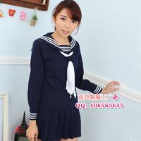 Sailor collar long-sleeve sailor suit student school uniform navy blue set