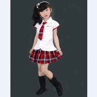 Freeshipping White Shirt Red Plaid Student School Uniform  Female Child Set