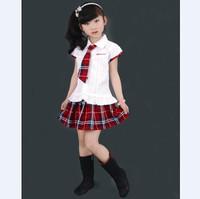 Children Girls School Uniform White Shirt and Red Plaid  Student Wear Kids School Set