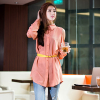 As 2013 female plus size strapless turn-down collar long-sleeve loose chiffon shirt 9211217